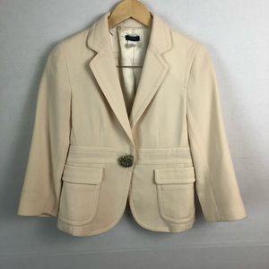 J. Crew Cream Brooch Button Business Blazer